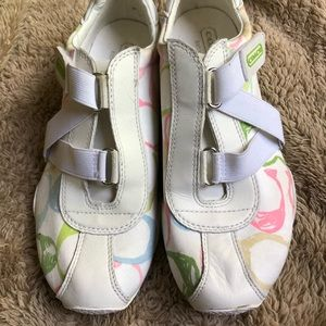 Coach White Logo Velcro Zigzag Sneakers Size 6 1/2